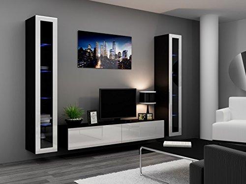 Jadella Wohnwand \' Vigo 5\' Hochglanz Hängeschrank Lowboard Cube, Farbe:Schwarz Weiß