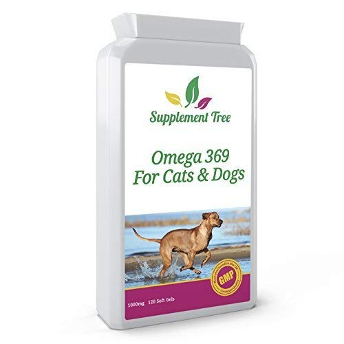 Omega 3 6 9 Fish Oil Complex for Dogs & Cats 120 Soft gels | Supplement With Added Vitamin E | Support Healthy Skin & Coat, Healthy heart, Joint & Immune System Function In Pets