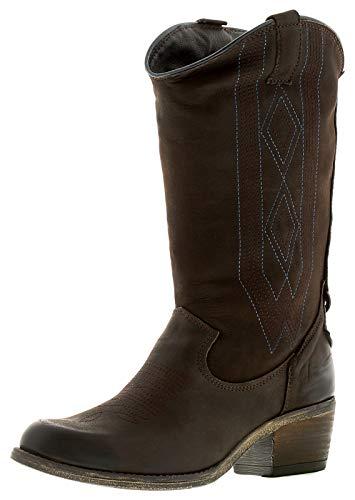 Wrangler Carson Hi Leder Reißverschluss Hoch Knie Bein Chelsea Stiefel Schwarz Braune Cowboy Western - Braun, 40