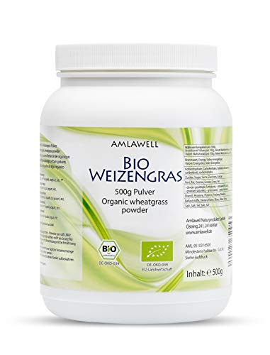 AMLAWELL Bio Weizengras Pulver – 500 g Bio Weizengraspulver glutenfrei mit wertvollen Vitaminen, Spurenelementen, Mineralstoffe