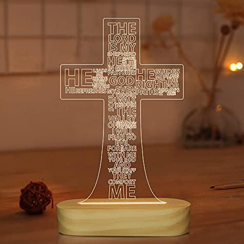 Jesus-Kreuz-3D-Nachtlicht, optische Täuschung, warmweißes Holz, handgefertigt, Schreibtisch-Lampen für Zimmer, Heimdekoration, Weihnachten, Geburtstag, Ostergeschenke