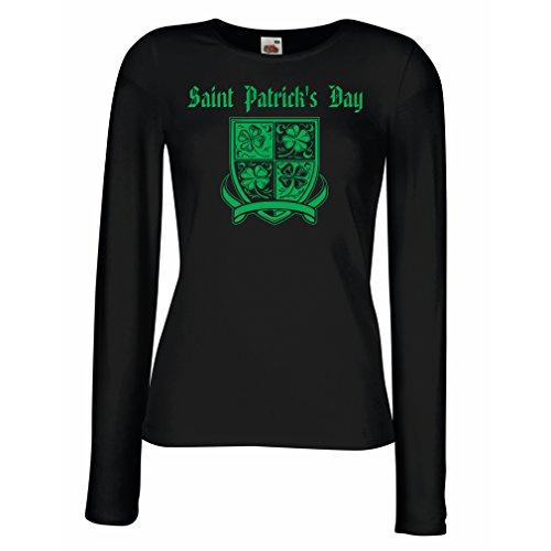 Weibliche Langen Ärmeln T-Shirt Saint Patrick's Day Shamrock Symbol - Irish Party time (XX-Large Schwarz Mehrfarben)