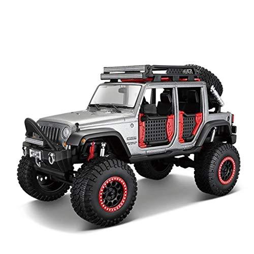 ZAKRLYB Modelo Coche Jeep Off-Road Vehículo 1:24 Aleación Coche Modelo Boy Juguete Coche Colección de Regalo Decoración del hogar Simulación estática Decoración de cumpleaños Regalo (Color : Gris)