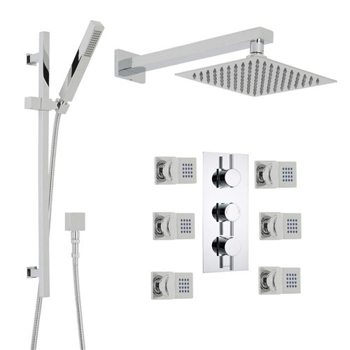 Great Features Of Royal 12 inch Chrome Square Rain Shower Head System With 6 body massage shower jet...