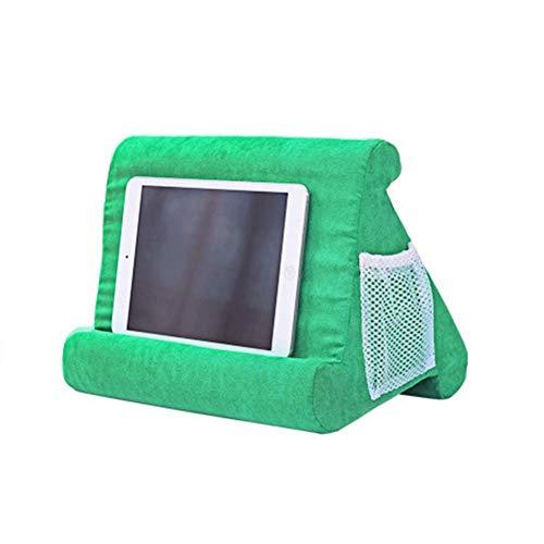 NMBC Kissenständer Klapptabletts Tablet Kissen Multi-Angle Tablet Kissen Ständer Lesekissen Mini Laptop-Kissenhalter Dreieck Tablet Kissenständer Lap Stand Mobile Halterung- Grasgrün