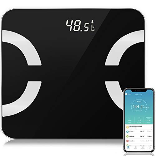 Báscula Grasa Corporal, Bascula Baño SEZAC Bascula Baño Grasa Corporal Bluetooth, Balanza Digital Baño con IOS/Android, Gran Pantalla LED y Más de 12 Funciones Máximo 180kg/400lbs