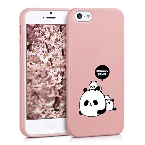 ZhuoFan Funda iPhone SE / 5s / 5, Cárcasa Silicona Rosa con Dibujos Diseño Suave Gel TPU Antigolpes de Protector Piel Case Cover Bumper Fundas para Movil Apple iPhonese / 5s, 3 Panda