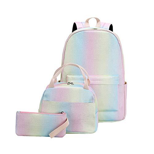 ISAKEN Rainbow Backpack Set 3-in-1 Kids School Bag, Waterproof Rainbow Print Schoolbag Laptop Shoulder Bag Daypack with Lunch Box and Pencil Bag for Teen Girls Boys, Shiny