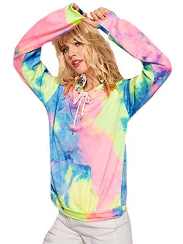 Romwe Women's Long Sleeve Tie Dye Drawstring Front Hoodies Kangaroo Pocket Sweatshirt Multicoloured Medium