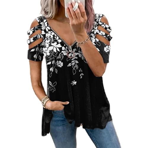 Top de Verano para Mujer con Cuello en V y Cremallera, Estampado, Manga Corta, Suelta, Camiseta, Camisetas de Verano Tiras, Hombros fríos túnica Casuales con Cremallera, Camisetas para Mujer Blusa