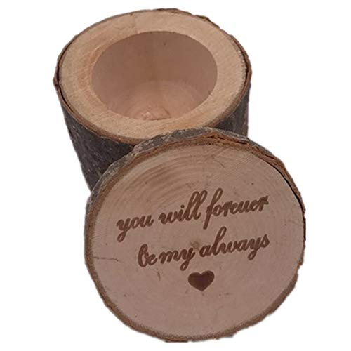 Vintage-Ringbox aus Holz, tragbar, Hochzeits-/Verlobungsring-Schatulle, rustikaler Finger-Ringhalter, universelle DIY-Dekorationen