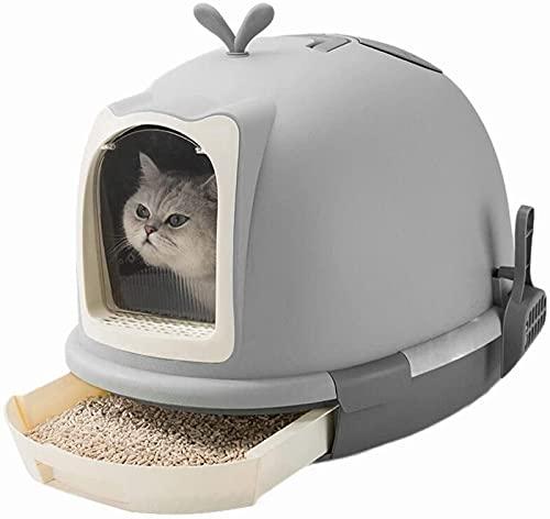 QUERT Bandeja de Arena para Gatos, Moda Creativa, Grande, Inodoro para Gatos, cajón de una Sola Capa, Papelera, Inodoro para Gatos, Suministros para Mascotas, Inodoro para Gatos Grises