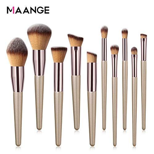 MAANGE10 Pieces Make Up Pinselset Kosmetik Pinsel professionelle Kosmetik Make-up Pinsel Werkzeuge Kosmetik Make-up-Pinsel-Set Champagner Gold