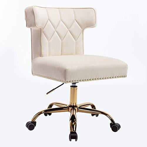 Recaceik Velvet Home Office Chair, Modern Adjustable Swivel Desk Chairs with High Back 360 Degree Castor Gold Wheels for Living Room/Bedroom/Office (Beige)