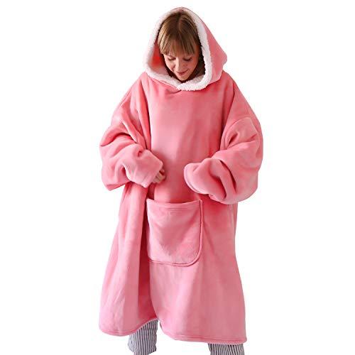 """Hansleep Übergroße Sherpa Hoodie Sweatshirt Super Weiche und Warme Riesen Hoodie Pullover Decke mit Kapuze Einheitsgröße Geeignet für Männer & Frauen und Jugendliche - Rosa 36\""""x43\"""""""