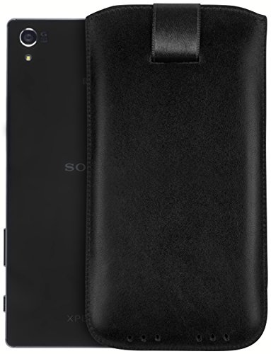 mumbi Echt Ledertasche kompatibel mit Sony Xperia Z5 Premium Hülle Leder Tasche Case Wallet, schwarz