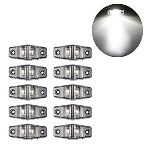 GOFORJUMP 10 PCS 2LED 12V 10-30V Feux De Côté De Camions Feux De Côté De Camions Général Large Avertissement Avertissement Anti-Feux arrière Imperméable Lumières Ambre Blanc