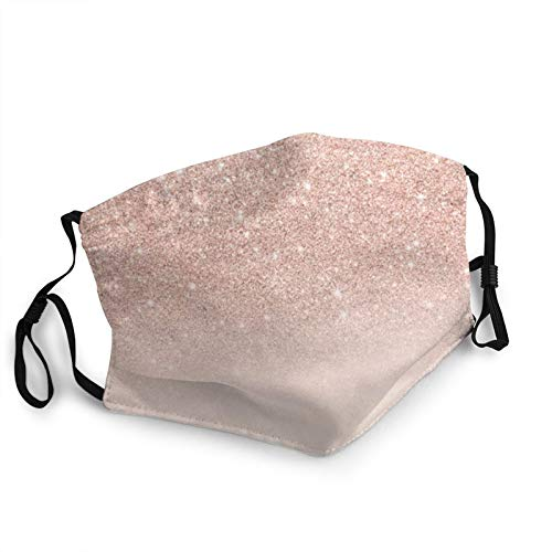 Protective Face Mask,Rose Gold Faux Glitter-Pink Safety Masks Outdoor Washable Reusable Dust Mouth Cover Adjustable Face Scarf With Elastic Strap