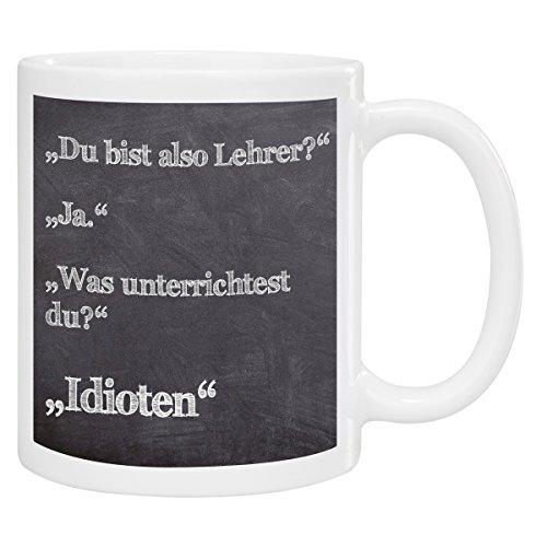 Tasse- Lehrer: Kaffeetasse bedruckt als Geschenkidee für Lehrer/Kaffeeliebhaber - individueller Keramik Kaffeebecher mit Gravur und origineller Tafel/Kreide Optik für Männer und Frauen