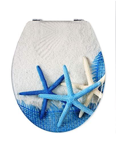 Vetrineinrete® Copriwater universale in legno MDF serigrafato tavoletta da bagno wc con stampa con cerniere 44 x 37.5 cm (Stelle blu) B55