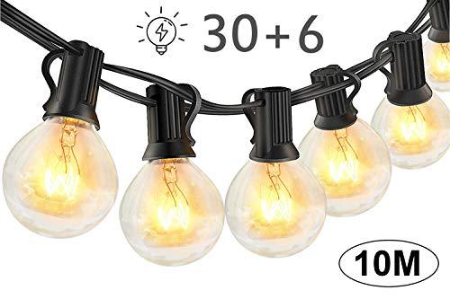 Lichterkette Außen Glühbirnen für Sommerabend - 10M 30 G40 Birnen mit 6 Ersatzbirnen, Lichterketten für Party Garten Balkon und Innen, Warmweiß [Energieklasse A++]