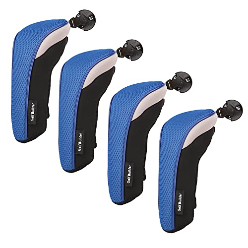 Golf Hybrid Club Head Covers Set of 4 with Interchangeable No. Tag UT Cover (Blue)