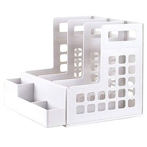 File Cabinet File Holder Data Frame Storage Box Quad Folder Multi-Layer Tray Familybookends File Pen Holder Classification Hollow Design Storage Box (Color : Black)