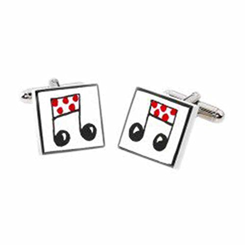 Sonia Spencer Red Musical Note Cufflinks, Fine Bone China, Handpainted. Ideal for Band, Orchestra & Musicians