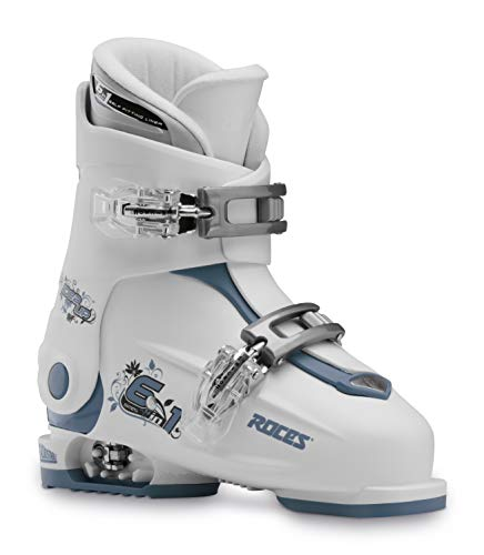 Roces Idea UP Chaussures de Ski réglables pour Enfant Mixte Jeunesse, Blanc/Bleu Sarcelle, 30-35