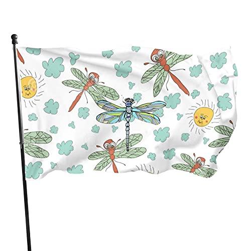 Bandera de jardín con diseño de nubes de sol de libélula, para interior y exterior, 3 x 5 pies, resistentes a la decoloración, banderas de playa duraderas con encabezado, fácil de usar