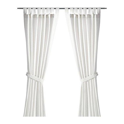IKEA–Cortinas con alzapaños, 1par, blanqueado blanco 55x 98