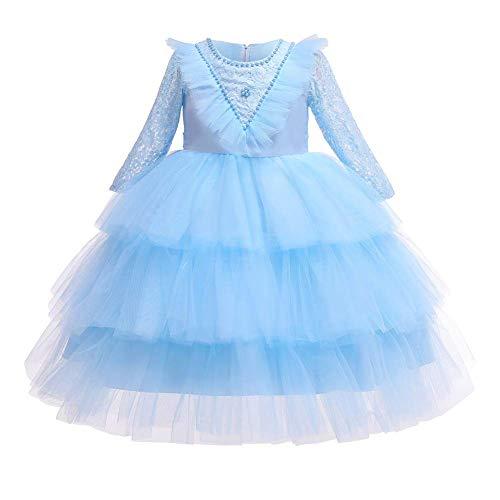 IBTOM CASTLE - Vestido de Manga Larga para nia, Cuello Redondo, tut, Vestido de Princesa, Fiesta de cctel, Princesa Azul Cielo S