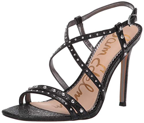 Sam Edelman Women's Lennox Heeled Sandal, Black Metallic Leather, 8.5 M US