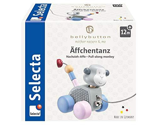 Selecta 64025 Äffchentanz, Nachzieh-AFFE, Schiebe-und Nachziehspielzeug aus Holz, 11 cm, Bellybutton