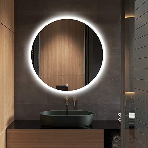 S·BAGNO - Espejo de baño con luz LED redondo de 600 mm de diámetro, con altavoz Bluetooth integrado, función de atenuación, almohadilla antivaho y interruptor de sensor táctil