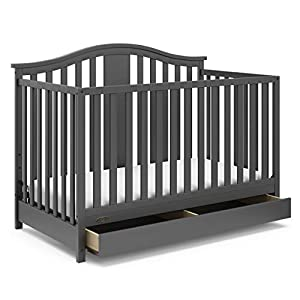 Graco Solano 4-in-1 Convertible Crib with Drawer, Easily Converts to Toddler Bed Day Bed or Full Bed Three Position Adjustable Height Mattress, Assembly Required (Mattress Not Included), Gray