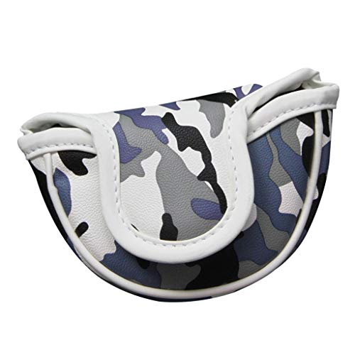 Toygogo Deluxe Camo Golf Mallet Putter Headcover, Golf Center Shaft Small Head Cover & Magnetic Closure, Golfer Accessories Gift for Golf Lovers Fans - Blue