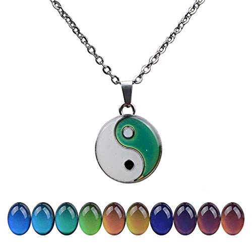FM FM42 Temperature Sensing Color Changing Yin and Yang Tai Ji Pendant Necklace with 19.29' Stainless Steel Rolo Chain ZN1302