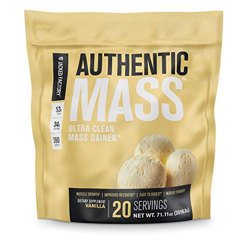 Authentic Mass Gainer - Clean Weight Gainer Protein Powder for Lean Muscle Growth - Muscle Building Bulking Mass Builder for Strength & Size - Post Workout Recovery, Vanilla Flavor - 4.4 LB