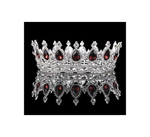 Vintage Bruiloft Kristallen Strass Kroon Bruids Barok Koningin Koning Tiara Kronen Voor Vrouwen Wijn Rood