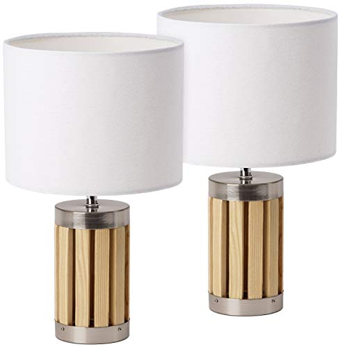 Juego de 2 lámparas de mesa o de noche BRUBAKER - altura 33 cm - base de madera/metal -...