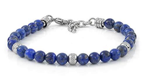 10:10 Bracciale con pietre naturali lapislazzuli da 6 mm, beads in acciaio inox, bracciale molto resistente prodotto in Italia