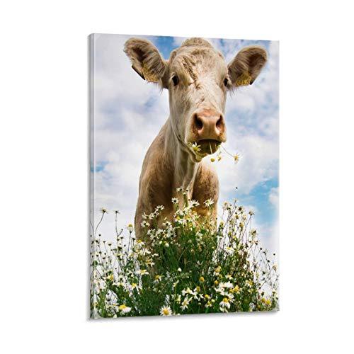 Póster y arte de la pared de la hierba de animales de la vaca de la hierba del cielo de pastoreo de la imagen moderna de la decoración de la habitación familiar carteles de 20 x 30 cm