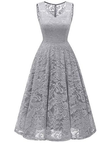 Meetjen Damen Elegant Spitzenkleid V-Ausschnitt Unregelmässig Vokuhila Kleid Festlich Cocktail Abendkleid Midi Grey XL
