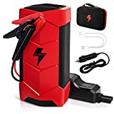 15000mAh Jump Starter for 12V Car,1000A Peak Portable Car Battery Charger - Auto Battery Booster Power Pack with Unique Jumper Cable,Quick Charge ,Compass and Built-in LED Flashlight(Red)