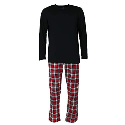 Hanes Men's Longsleeve Henley Crew with Flannel Plaid Pant, 2 Piece Sleep Set, Black, L