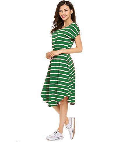 Halife Pocket Dress,Women Short Sleeve Round Neck Summer Casual Flared Midi Dress Green,XXL