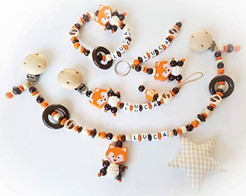 Kinderwagen ketting met naam - Gift voor de doop, geboorte (Complete Set: Kinderwagen, fopspeen ketting, grijp en hanger, natuur, bruin, vos)