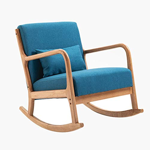 XBSLJ car Cover Reading Chair Nordic Style Rocking Chair Living Room Recliners Fabric Chaise Lounge Sun Lounger Rocker Armchair Accent Chair with Wood Legs Single Sofa Chair Home Balcony Chair