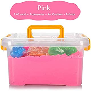 J%J Magical Play Sand Toy Set with Modelling Clay, Never Dries, Build Sandcastles (Pink, 2000g)